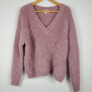 Dusty Rose Cozy Chunky Eyelash Knit V Neck Sweater